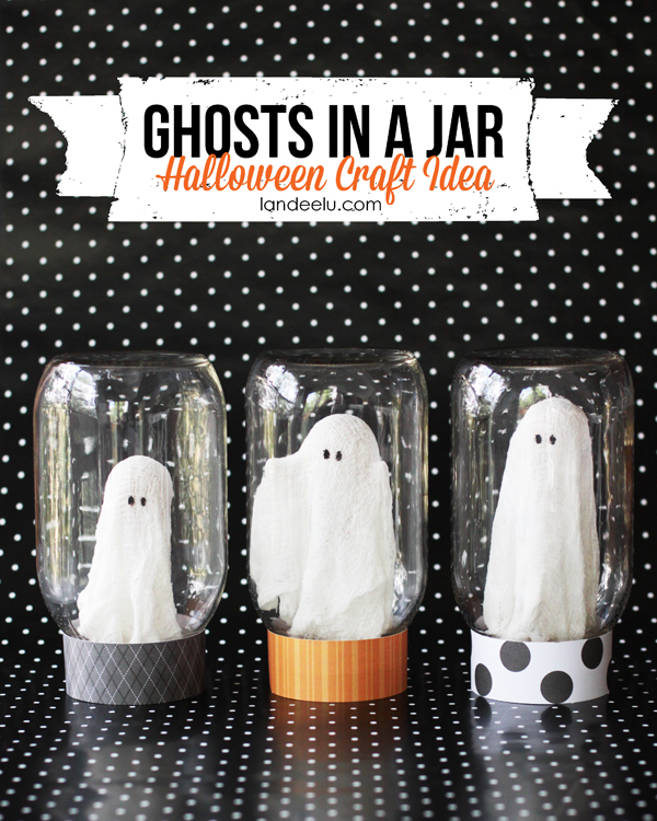 Ghosts in A Jar Halloween Craft from landeelu.com -- So cute!