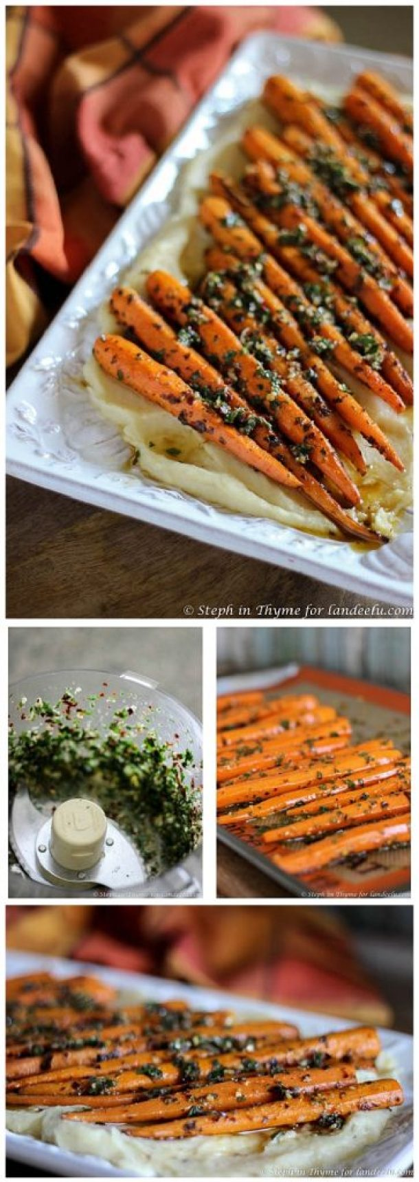 Roasted Chimichurri Carrots with Parmesan Parsnip Purée Side Dish Recipe | Landeelu