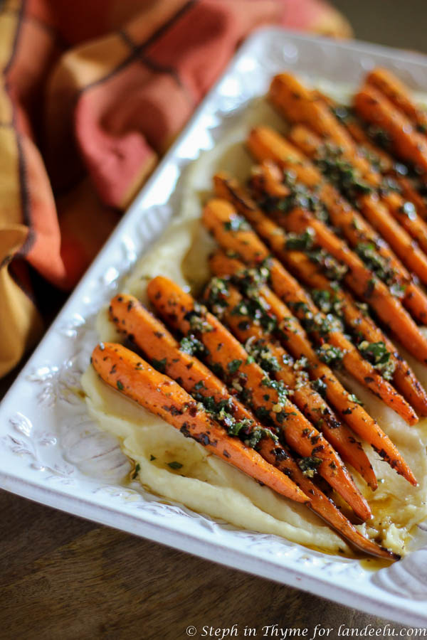 Chimichurri marinated carrots atop a parsnip puree