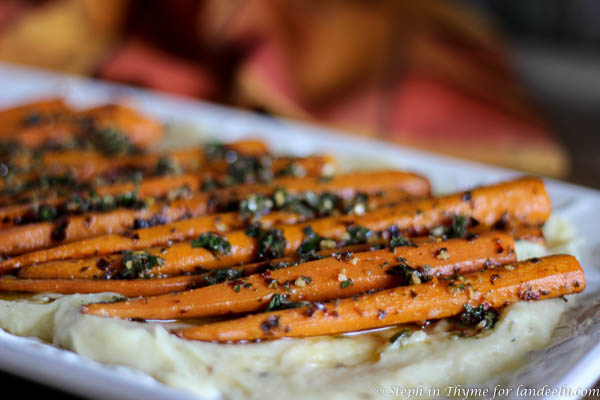 Roasted carrots with chimichurri and parsnips