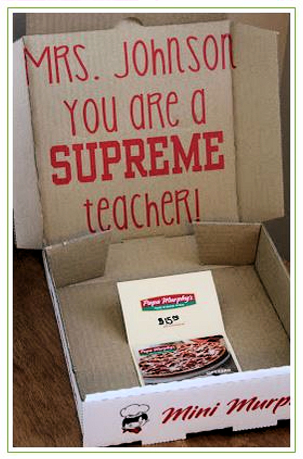 You Have Been Framed teacher appreciation gift card holder idea pizza box