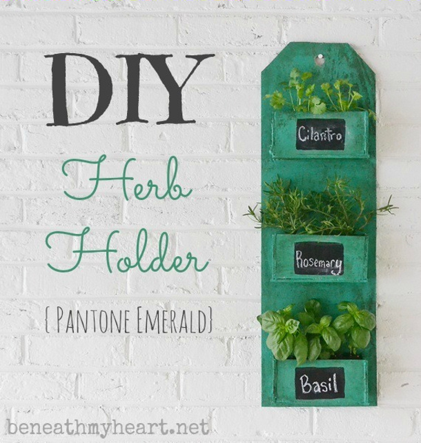 Beneath my heart DIY Pantone Emerald hanging herb garden tutorial roundup for landeelu dot com