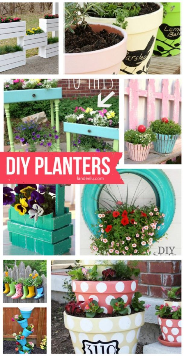 DIY Planters | landeelu.com   Lots of fun ideas to make your garden pretty and original this year!