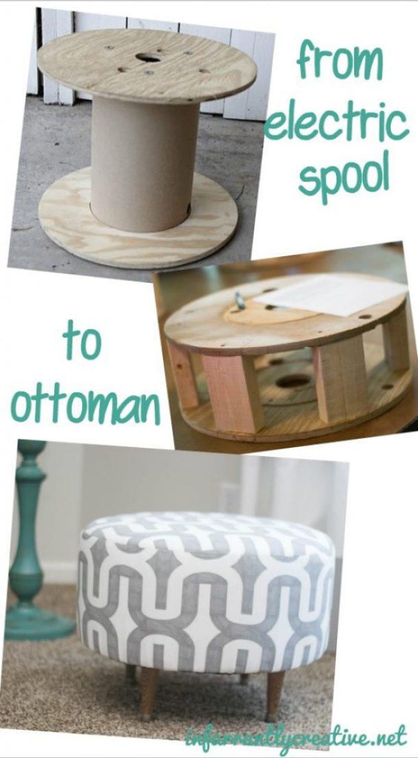 Electrical spool ottoman DIY tutorial Infarrantly Creative