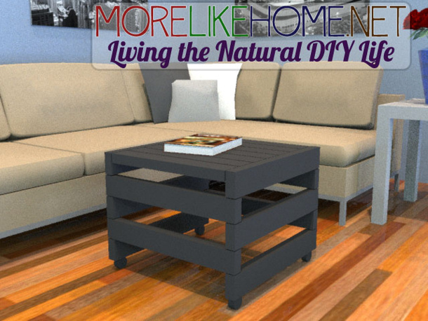 MORE LIKE HOME pallet look rolling ottoman DIY tutorial