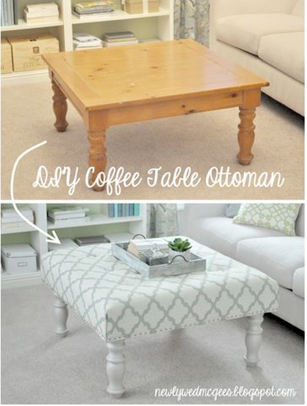 Not So Newlywed McGees coffee table makeover ottoman DIY tutorial