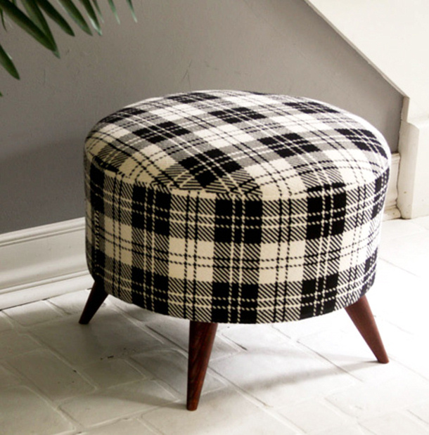 Salvaged Spool black and white plaid ottoman from Design Sponge