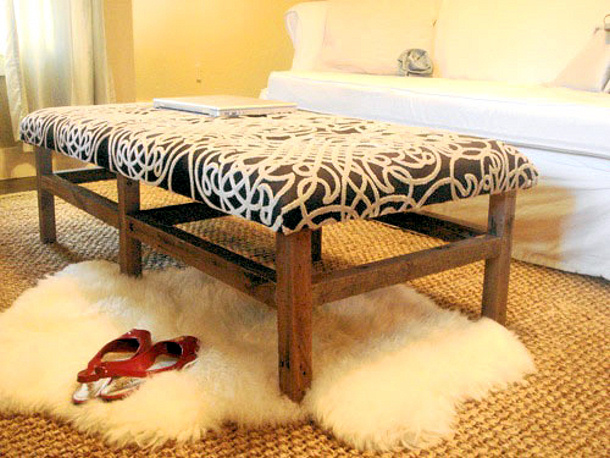 Young House Love DIY ottoman using the top of an old coffee table