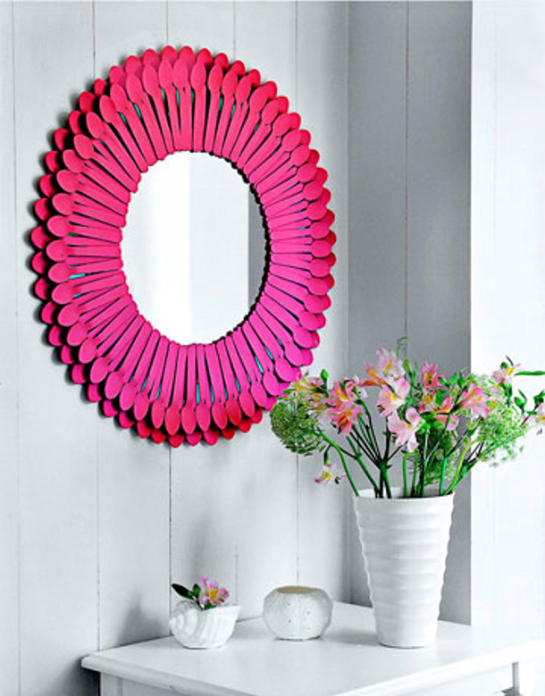 country living DIY spoon mirror full spoons in pink for landeelu dot com roundup
