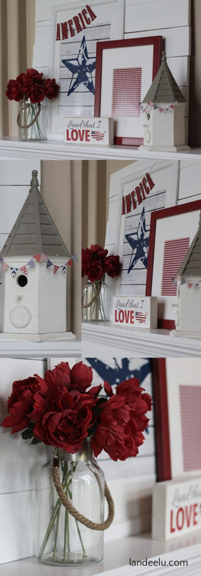 Red, White and Blue Home and Mantel Decorations Ideas and Printables | Landeelu Free printables to dress up your mantel for the Fourth of July!