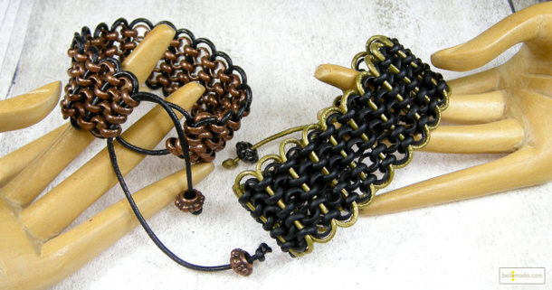 Rolo Chain and Leather Bracelets by BellaModo