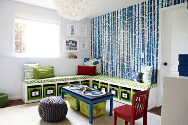 Bench with storage and play table via iheart organizing