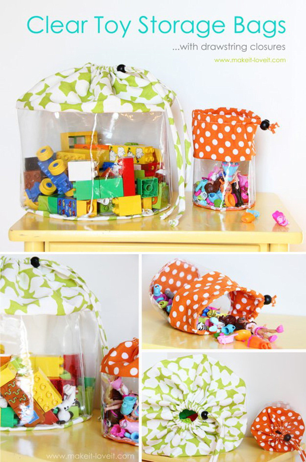 Make Clear Toy Storage Bags with Drawstrings Tutorial via
