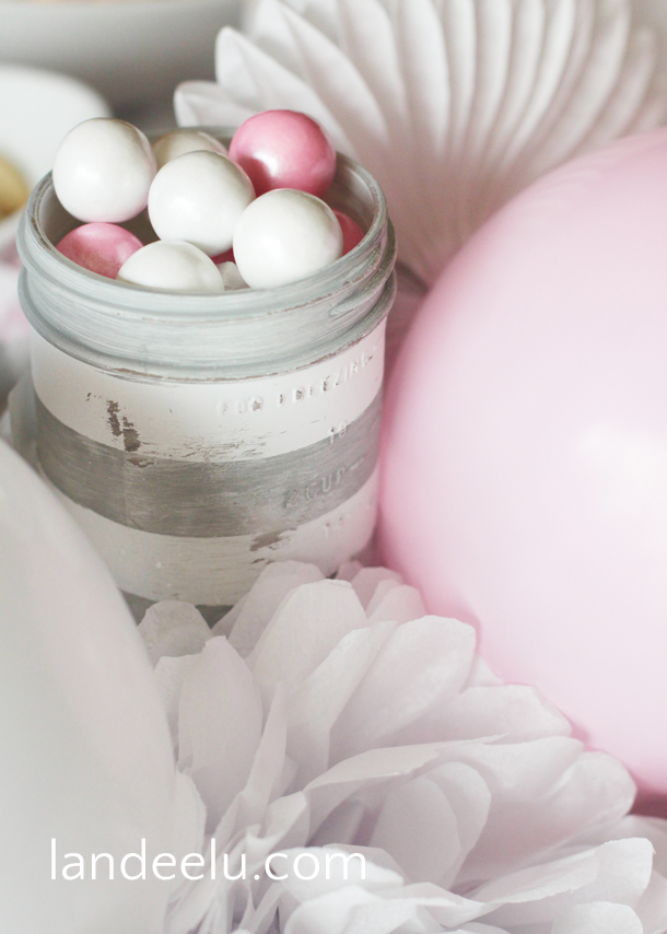 Pink and Grey Baby Shower Decor and Ideas | landeelu.com  Easy and inexpensive decor for a sweet pink and grey baby shower!