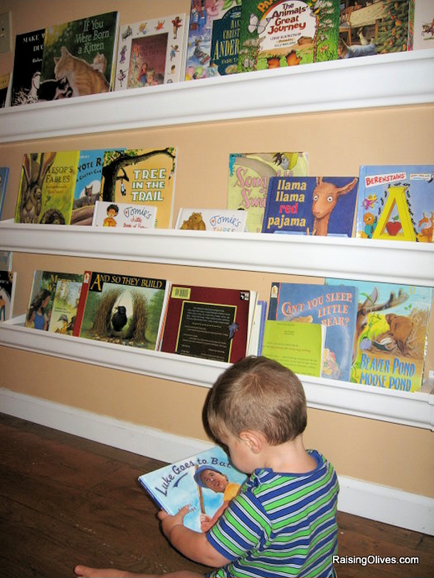 Raingutter Book Shelves tutorial via Raising Olives