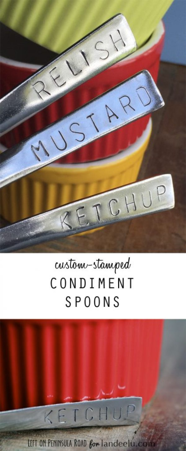 Custom-Stamped Condiment Spoons paired with colorful ramekins