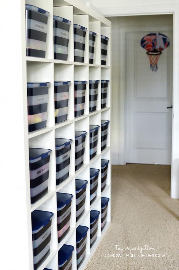 Toy-Organization Ikea Shelving and bins-via-A-Bowl-Full-of-Lemons