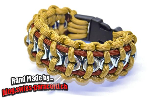 hex nut bracelet tutorial via Swiss Paracord