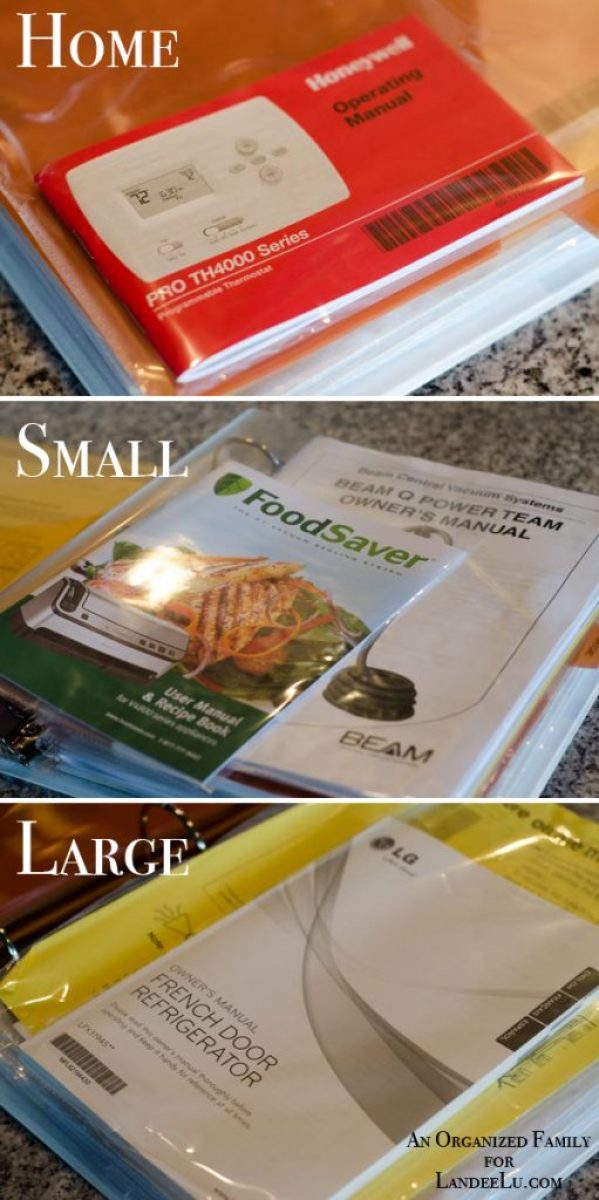 Keep home and appliance manuals organized in a binder