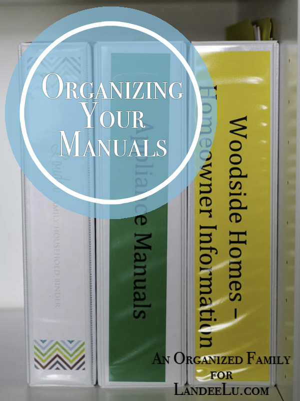 Keep home and appliance manuals organized with binders