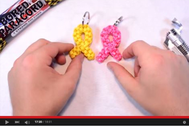 pink cancer ribbon keychain tutorial via youtube