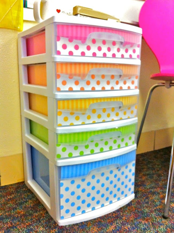 Decorated Plastic Drawers via clutter free classroom