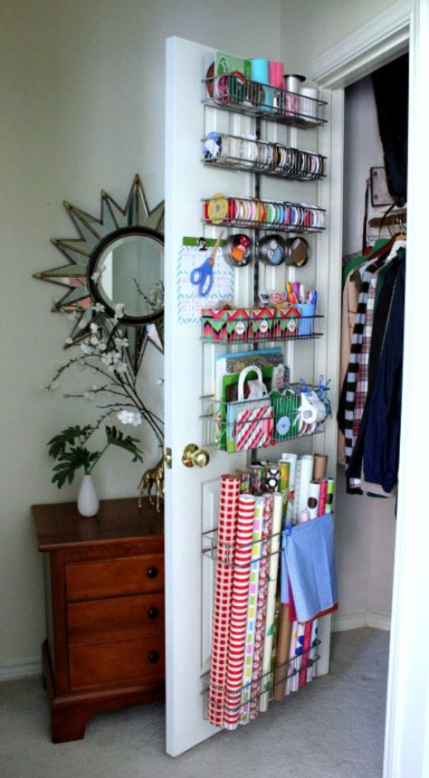 Install racks inside the closet door via i heart organizing