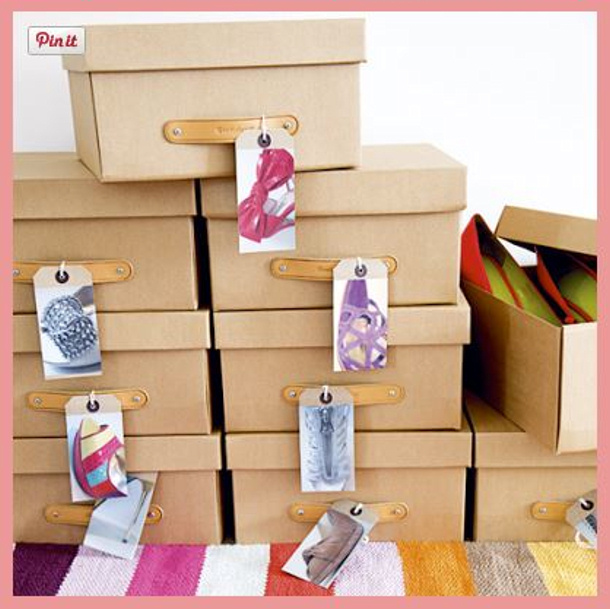 Picture Labels with cute storage boxes via frosted wifey