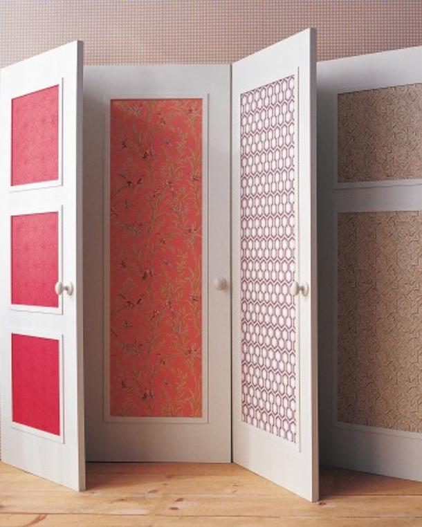Wallpaper the door panels via Martha Stewart