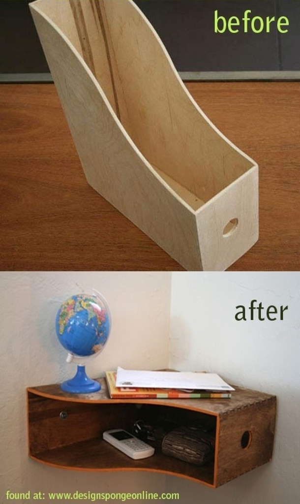 create a shelf from a mazagine holder via design sponge