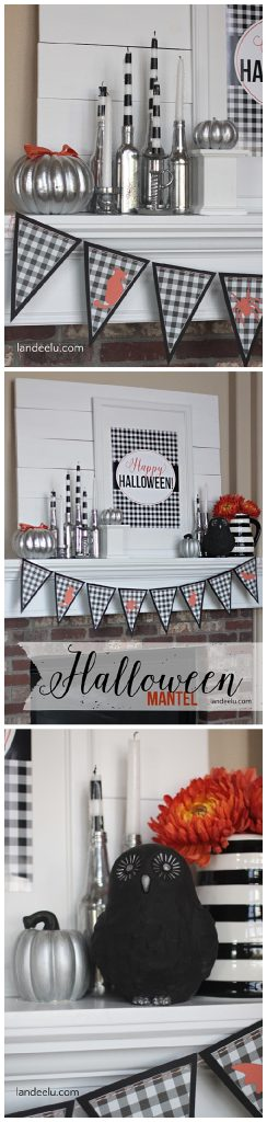 Black and White Halloween Mantel DIY Decoration Ideas with Pops of Orange - so fun for do it yourself holiday decorating!