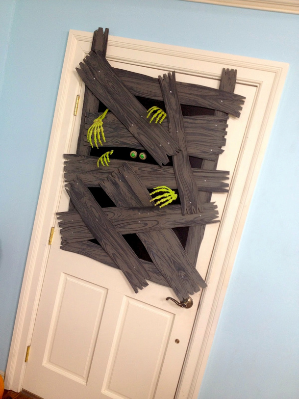 Boarded up Zombie Attack Door via Dave Lowe Design