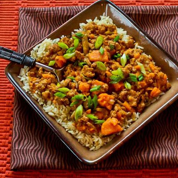 CrockPot Sweet and Spicy Ground Turkey and Sweet Potato Stew Recipe with Coconut Milk via Kalyn's KITCHEN
