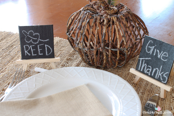 Easy Chalkboard Place Cards Tutorial via Create. Craft. Love.