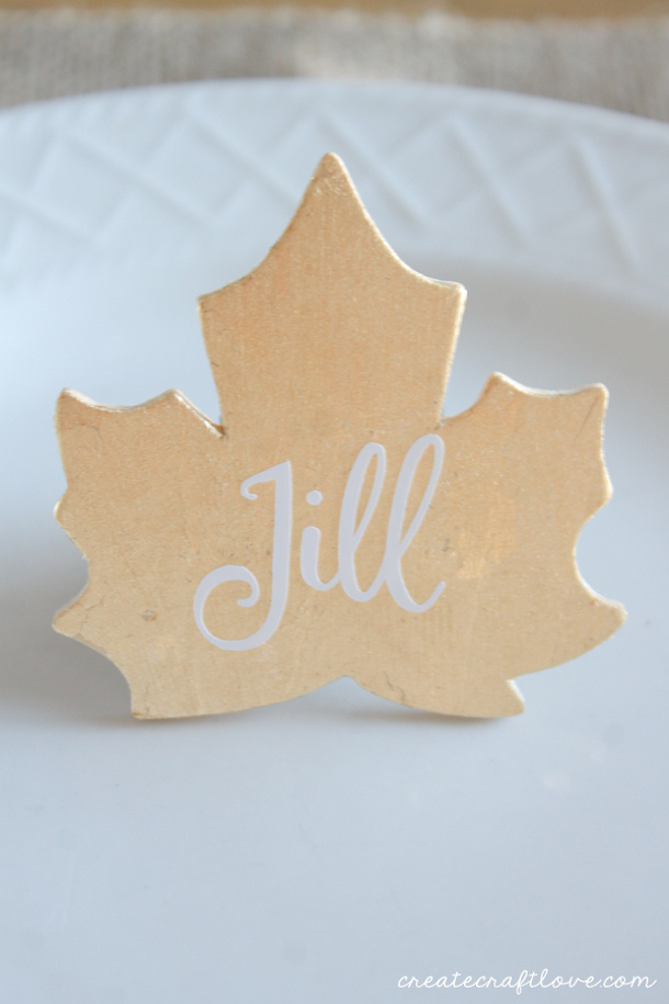 Gold Leaf Placecards Tutorial via Create. Craft. Love.