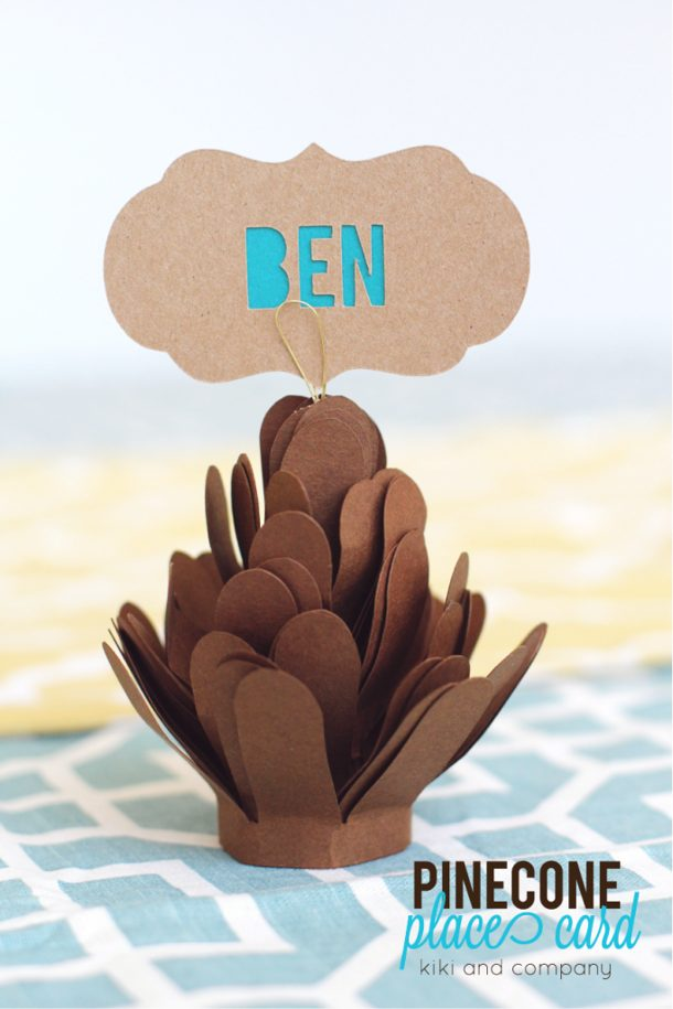 Paper Pinecone Place Card Tutorial DIY via kiki and company