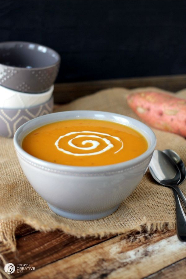 Slow Cooker Spicy Sweet Potato Soup Recipe via Today's Creative Life