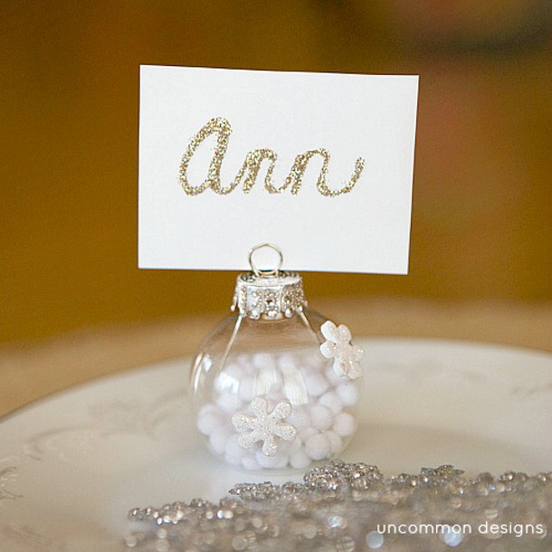 Snowflake and Glitter Place Card Holders Tutorial via UNCOMMON designs