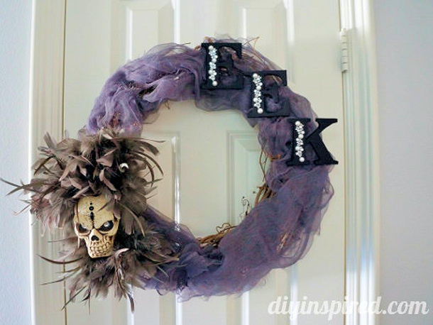 glam o ween eerie hallowee wreath DIY inspired