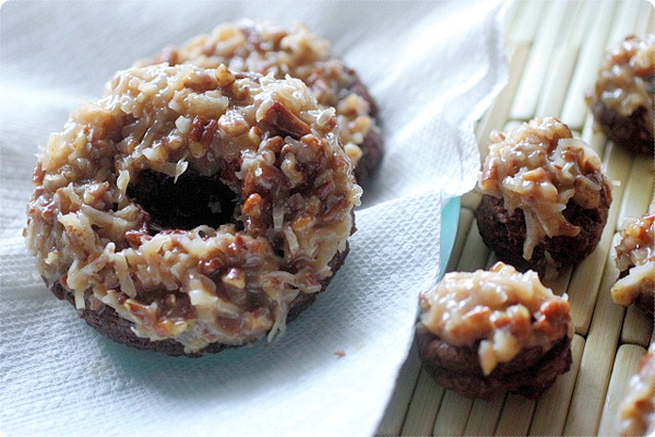 German Chocolate Cake Donuts and Donut Holes mind over batter