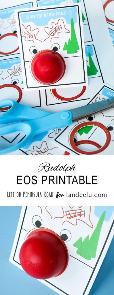 "Rudolph ""Merry Kiss-Mas"" Free Printable EOS Lip Balm Holder Christmas Gift Card | Landeelu"