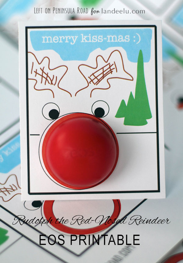 merry kiss-mas Rudolph EOS lip balm holiday card.