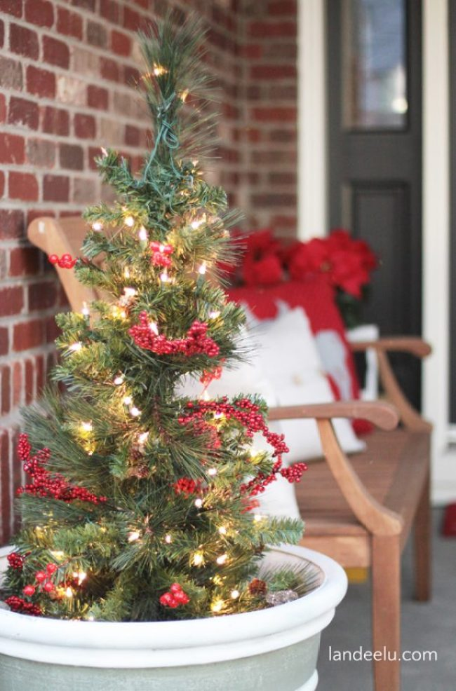 Christmas Porch Potted Trees