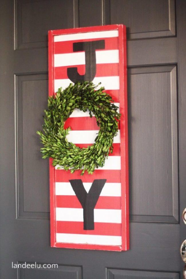 Christmas Wreath JOY Sign