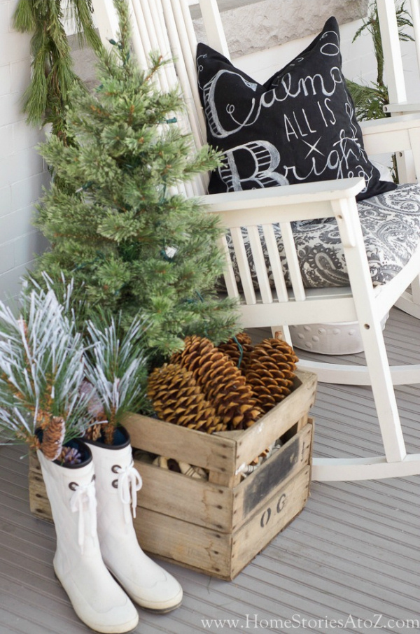 Christmas-porch with boots home stories a to z