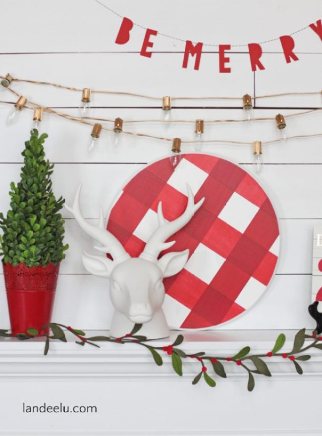 Buffalo Check Christmas Mantel I LOVE buffalo check! So festive and fun! Easy Christmas mantel decor ideas.