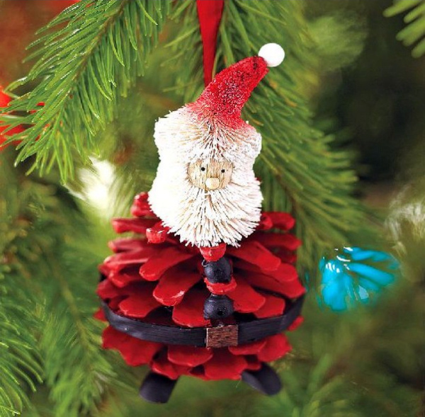 Santa Pinecone Ornament wonderful diy