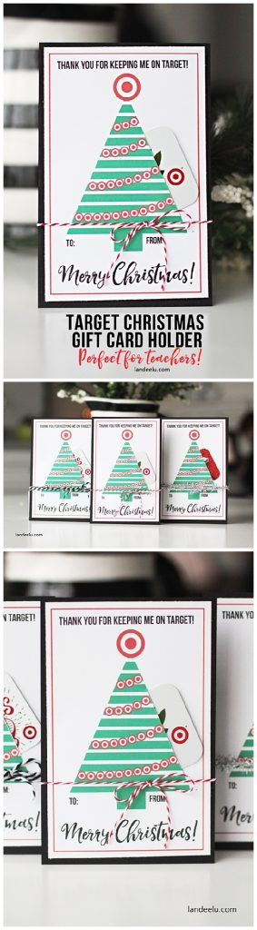 FREE PRINTABLE - Darling Teacher Gift Card Holder for Christmas - perfect for a Target Gift Card! | Landeelu