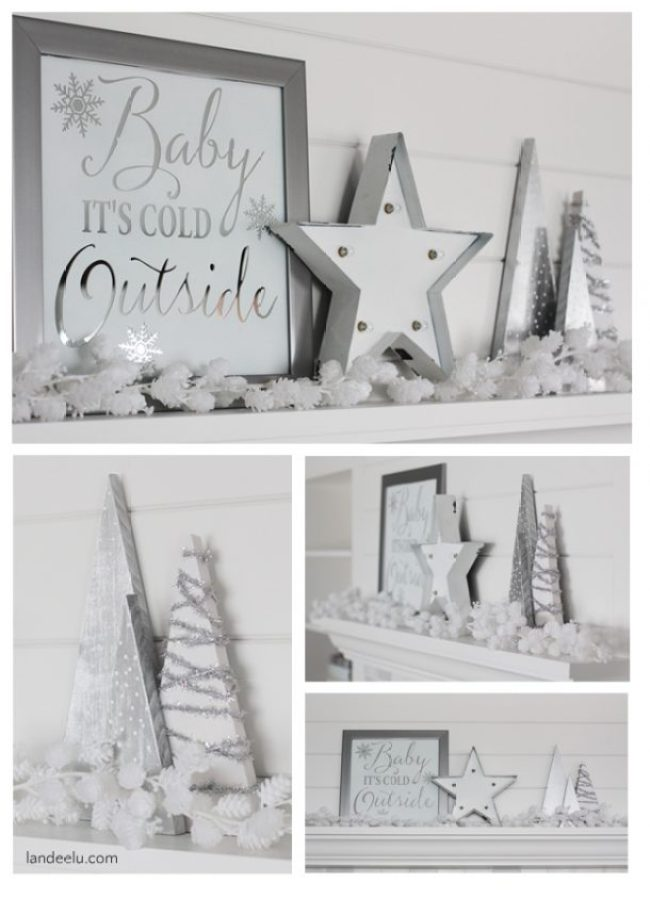 Winter White Mantel decor