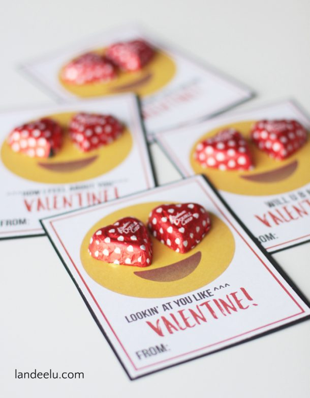 Printable Valentines with Emojis